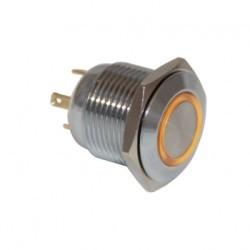 Drn416 16mm Metal Mavi Ledli Yaylı Buton - Thumbnail